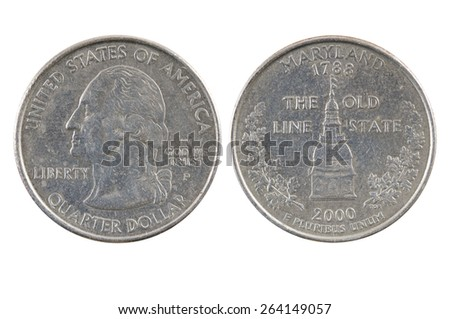 American one quarter dollar coin. - stock photo