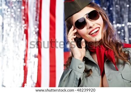 American pin-up  sexy girl. Patriot concept - stock photo