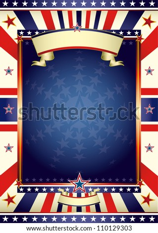 American poster with frame. A large frame with stars for your poster - stock photo