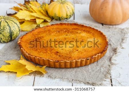 American pumpkin pie.selective focus - stock photo