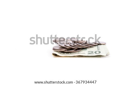 American quarters and 20 dollars bills isolated on white background - stock photo