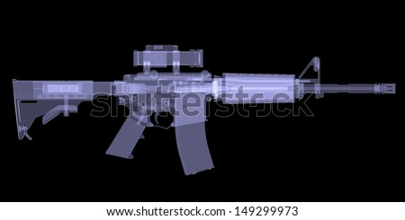 American rifle. X-ray render on black background - stock photo