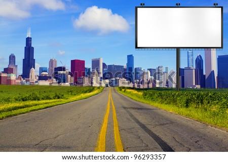 American Road with Billboard - stock photo