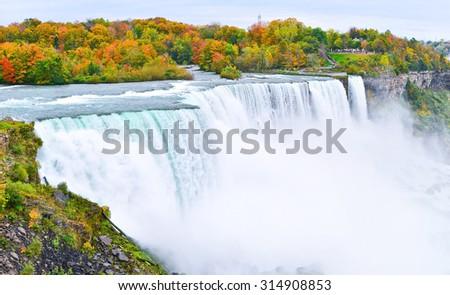 American side of Niagara Falls in autumn - stock photo
