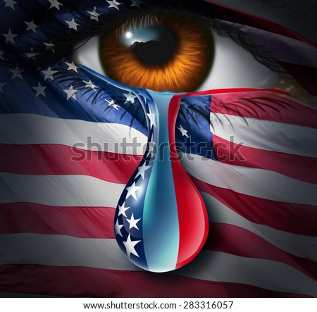 American social crisis and grief or violence in the United States concept as a human eye with a US flag crying a tear with the stars and stripes in the liquid drop as a metaphor for community sorrow. - stock photo