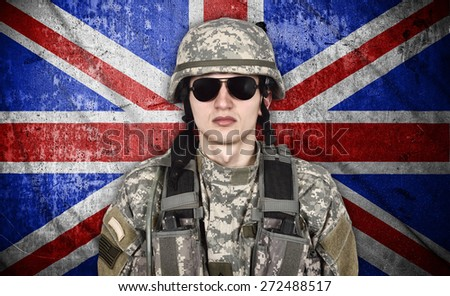 american soldier and england flag on background - stock photo