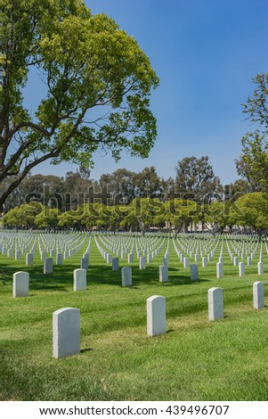 American soldier graves in Los Angeles National Cemetery in California. - stock photo