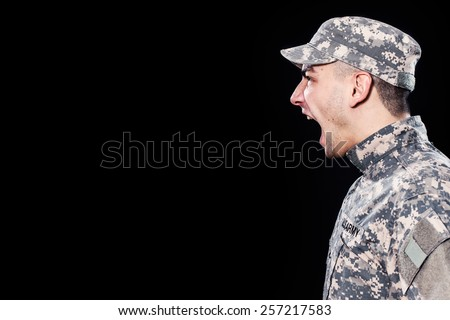 American soldier shouting out orders - stock photo