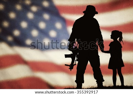 American soldier silhouette - stock photo