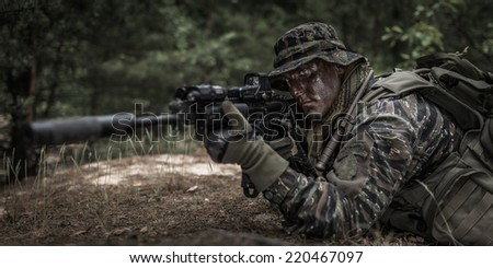 American soldier - waiting for target. - stock photo