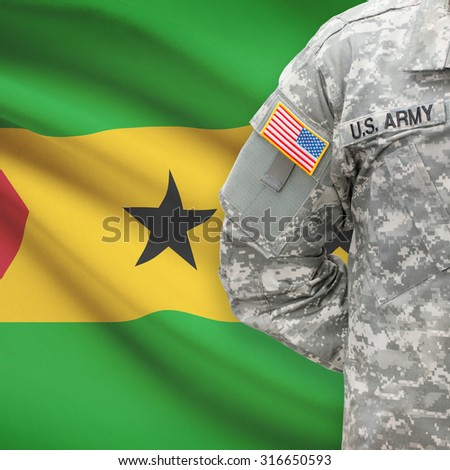 American soldier with flag on background series - Democratic Republic of Sao Tome and Principe - stock photo