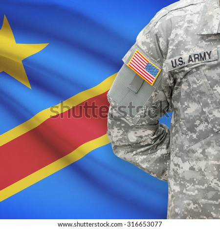 American soldier with flag on background series - Democratic Republic of the Congo - Congo-Kinshasa - stock photo