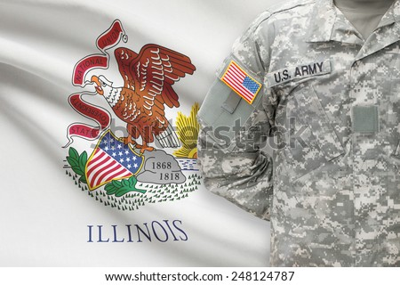 American soldier with US state flag on background - Illinois - stock photo