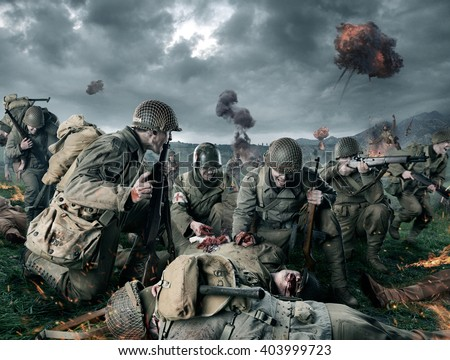 American soldiers on Field of Second World War Battle. Explosion on a background - stock photo