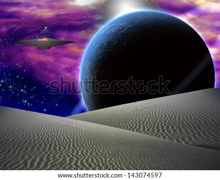 American Space Craft Hovers Over Alien Landscape - stock photo