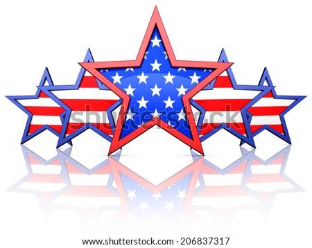 american stars - stock photo