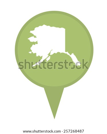 American state of Alaska marker pin isolated on a white background. - stock photo
