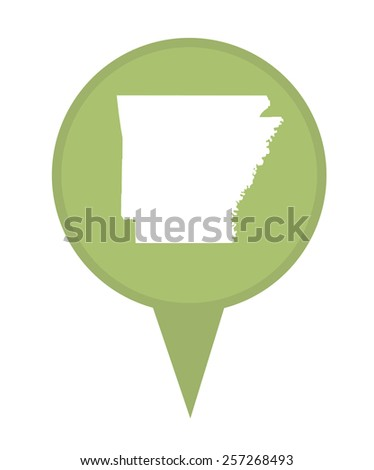 American state of Arkansas marker pin isolated on a white background. - stock photo