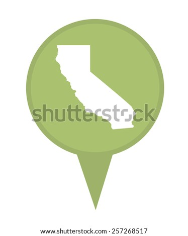 American state of California marker pin isolated on a white background. - stock photo