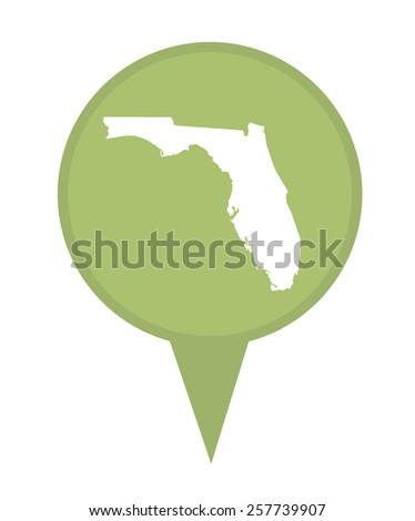 American state of Florida marker pin isolated on a white background. - stock photo