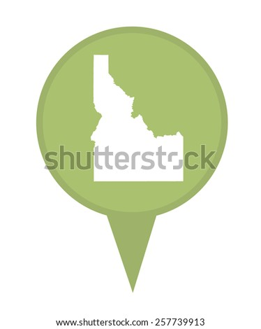 American state of Idaho marker pin isolated on a white background. - stock photo