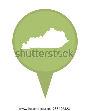 American state of Kentucky marker pin isolated on a white background. - stock photo