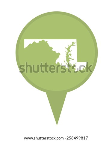 American state of Maryland marker pin isolated on a white background. - stock photo