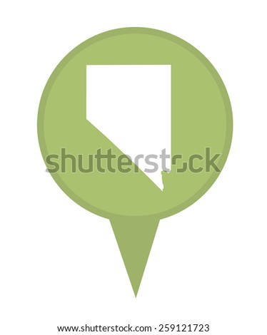 American state of Nevada marker pin isolated on a white background. - stock photo