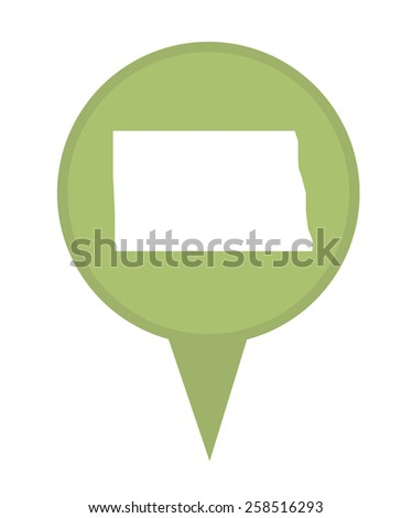American state of North Dakota marker pin isolated on a white background. - stock photo