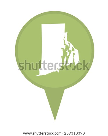 American state of Rhode Island marker pin isolated on a white background. - stock photo