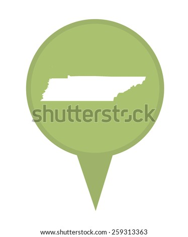 American state of Tennessee marker pin isolated on a white background. - stock photo
