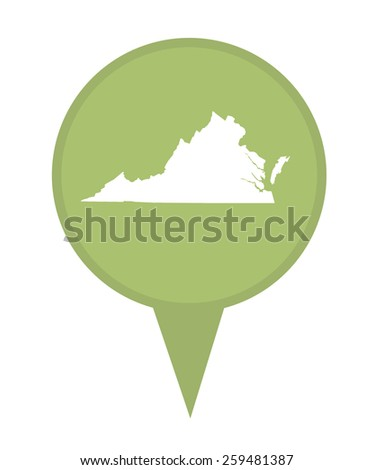 American state of Virginia marker pin isolated on a white background. - stock photo