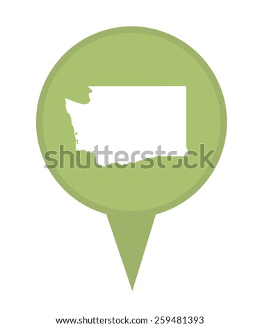 American state of Washington marker pin isolated on a white background. - stock photo