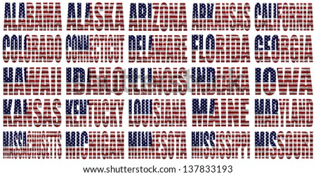 American States From A to M  flag words on a white background - stock photo