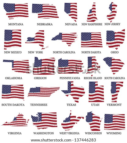 American States From M to W  flag maps on a white background - stock photo