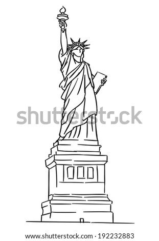 American Statue of Liberty for travel industry design. Vector version also available in gallery - stock photo