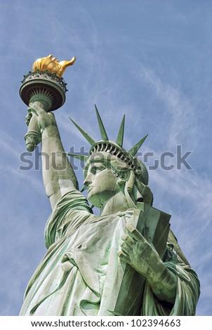 american statue of liberty-manhattan-new york city - stock photo