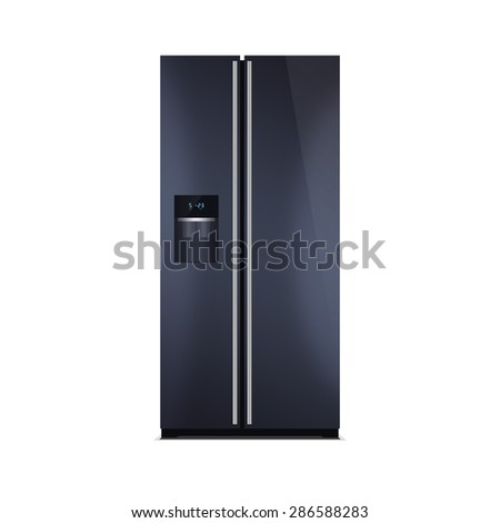 American style fridge freezer isolated on white. The external LED display, with blue glow. Modern refrigerator in dark blue color. Glossy piano black finish. - stock photo