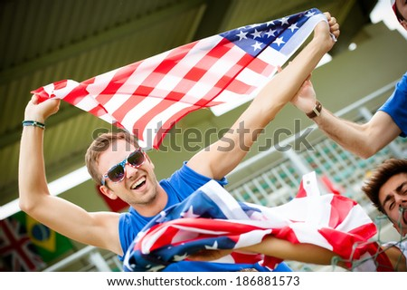 american supporter at the stadium - Stock Image - stock photo