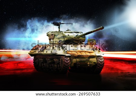 American tank on road in bright glow - stock photo