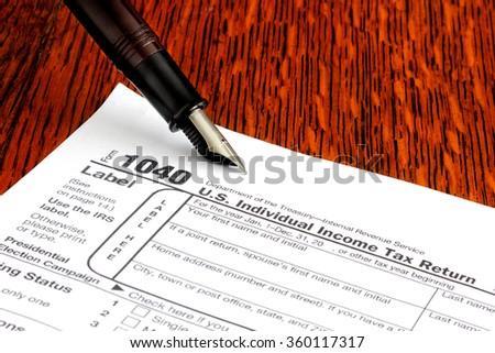 American tax return - stock photo