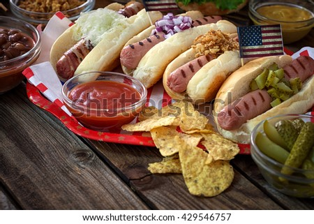 American 4th of July Hot Dogs Picnic Table - stock photo