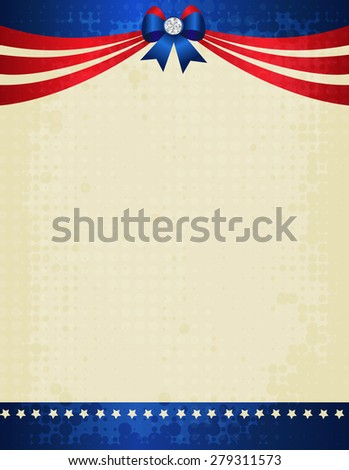 American / USA grunge halftone patterned patriotic frame with ribbon banner and bow with crystal on top. A traditional vintage american poster design - stock photo