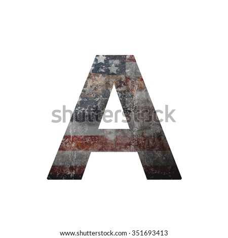 American vintage flag in letter a - stock photo