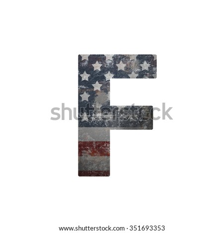 American vintage flag in letter f - stock photo