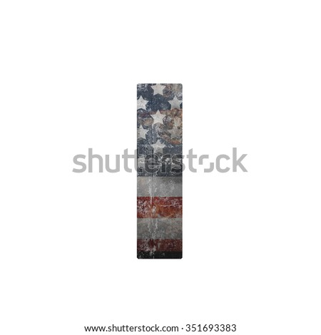 American vintage flag in letter i - stock photo