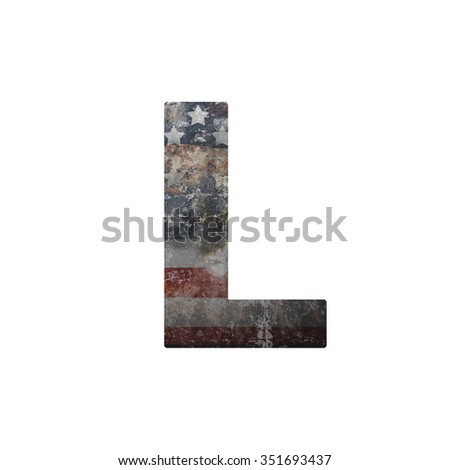 American vintage flag in letter l - stock photo