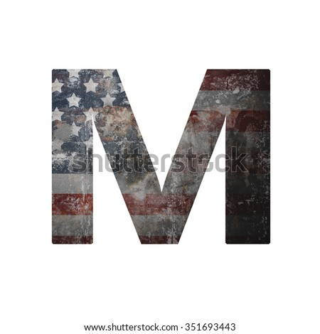 American vintage flag in letter m - stock photo