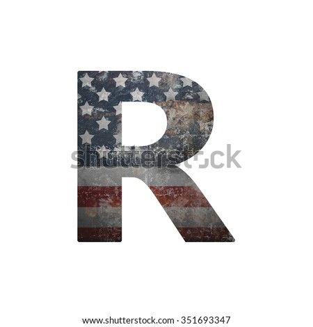 American vintage flag in letter r - stock photo