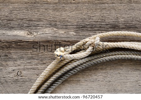 American West authentic rodeo cowboy lariat lasso hondo or honda noose with end loop rawhide speed burner on old and weathered aged barn wood - stock photo